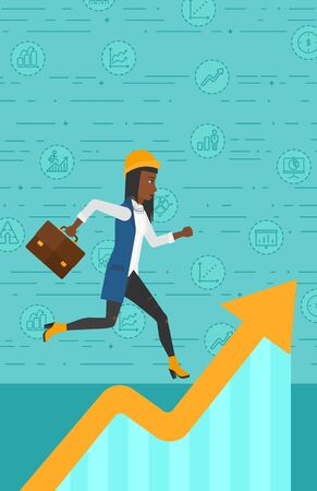 runner up: An african-american woman running along the growth graph on a blue background with business icons vector flat design illustration. Vertical layout. Illustration