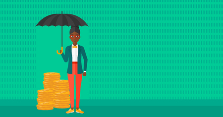 cartoon umbrella: An african-american woman standing in the rain and holding an umbrella over coins on a green background vector flat design illustration. Horizontal layout. Illustration