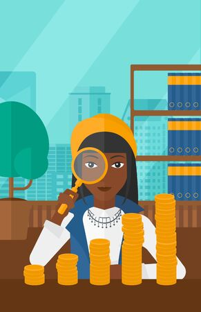 An african-american woman holding a magnifier and looking at stacks of golden coins on the background of panoramic modern office with city view vector flat design illustration. Vertical layout.