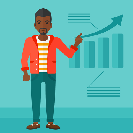 increasing: An african-american man showing with his forefinger at increasing chart on a blue background vector flat design illustration. Square layout. Illustration