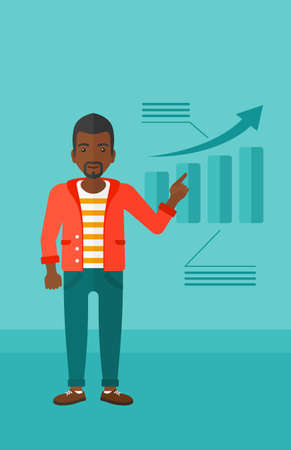 increasing: An african-american man showing with his forefinger at increasing chart on a blue background vector flat design illustration. Vertical layout. Illustration