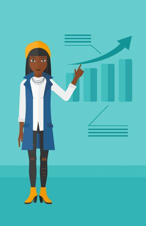 her: An african-american woman showing with her forefinger at increasing chart on a blue background vector flat design illustration. Vertical layout.