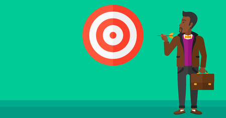 An african-american businessman standing with arrow in hand and aiming at a target board on a green background vector flat design illustration. Horizontal layout.
