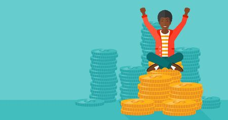 An african-american man with a happy face and raised hands sitting on golden coins on a blue background vector flat design illustration. Horizontal layout. Çizim