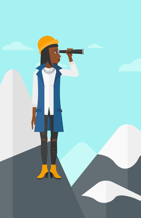 An african-american woman standing on the top of mountain and looking through spyglass on the background of blue sky vector flat design illustration. Vertical layout.