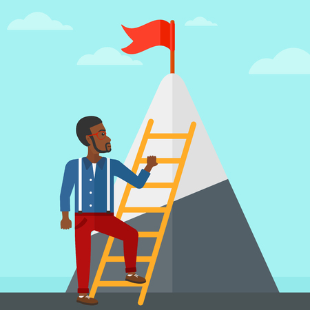 stair climber: An african-american man holding the ladder to get the red flag on the top of mountain on the background of blue sky vector flat design illustration. Square layout. Illustration