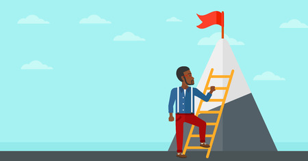 stair climber: An african-american man holding the ladder to get the red flag on the top of mountain on the background of blue sky vector flat design illustration. Horizontal layout.