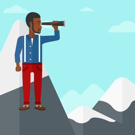 man looking at sky: An african-american man standing on the top of mountain and looking through spyglass on the background of blue sky vector flat design illustration. Square layout. Illustration