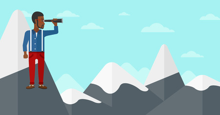 An african-american man standing on the top of mountain and looking through spyglass on the background of blue sky vector flat design illustration. Horizontal layout. Ilustracja