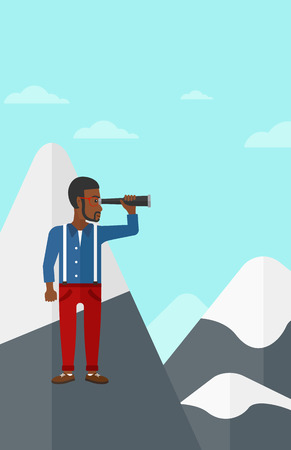 man looking at sky: An african-american man standing on the top of mountain and looking through spyglass on the background of blue sky vector flat design illustration. Vertical layout.