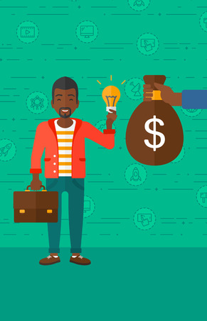 exchanging: An african-american man exchanging his idea bulb to money bag on a green background with business and technology icons vector flat design illustration. Vertical layout. Illustration