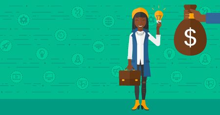 african business: An african-american woman exchanging her idea bulb to money bag on a green background with business and technology icons vector flat design illustration. Horizontal layout.