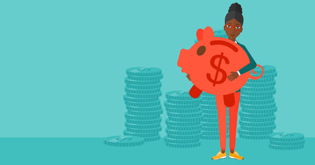 An african-american woman holding a big piggy bank in hands on a blue background vector flat design illustration. Horizontal layout. Иллюстрация