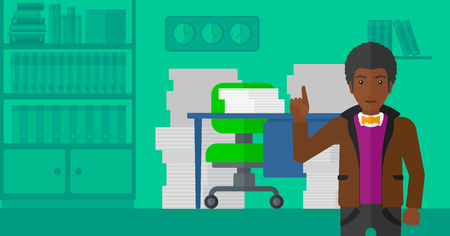 man pointing up: An african-american man pointing up with his forefinger on the background of office workspace with many files on the table vector flat design illustration. Horizontal layout.