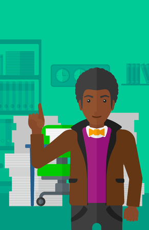 man pointing up: An african-american man pointing up with his forefinger on the background of office workspace with many files on the table vector flat design illustration. Vertical layout.