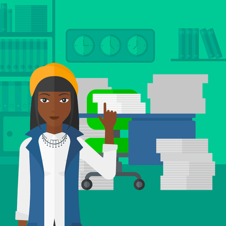 woman pointing up: An african-american woman pointing up with her forefinger on the background of office workspace with many files on the table vector flat design illustration. Square layout. Illustration