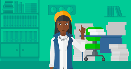 forefinger: An african-american woman pointing up with her forefinger on the background of office workspace with many files on the table vector flat design illustration. Horizontal layout. Illustration
