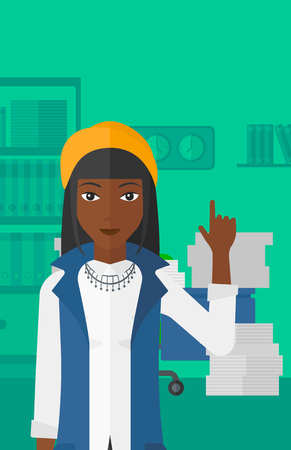 woman pointing up: An african-american woman pointing up with her forefinger on the background of office workspace with many files on the table vector flat design illustration. Vertical layout. Illustration