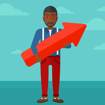 african business man: An african-american man holding a big arrow in hands on the background of blue sky vector flat design illustration. Square layout.