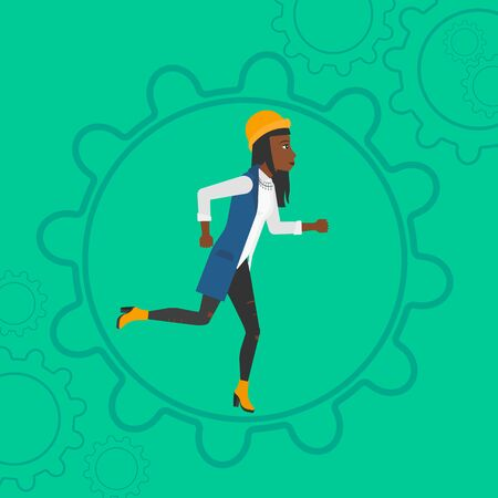 moving in: An african-american woman running inside a big cogwheel on a green background vector flat design illustration. Square layout.