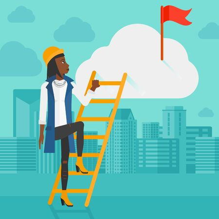 stair climber: An african-american woman holding the ladder to get the red flag on the top of the cloud on the background of modern city vector flat design illustration. Square layout.