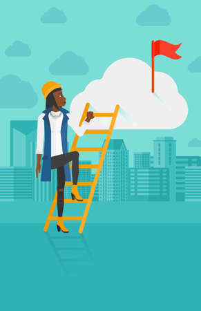 stair climber: An african-american woman holding the ladder to get the red flag on the top of the cloud on the background of modern city vector flat design illustration. Vertical layout.