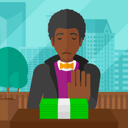 bribe: An african-american man moving dollar bills away and refusing to take a bribe on the background of panoramic modern office with city view vector flat design illustration. Square layout.
