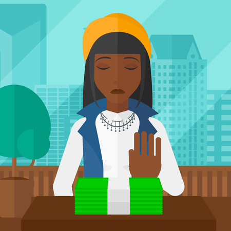moving office: An african-american woman moving dollar bills away and refusing to take a bribe on the background of panoramic modern office with city view vector flat design illustration. Square layout.
