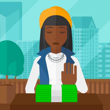 Een Afro-Amerikaanse vrouw bewegende dollar biljetten weg en het weigeren om steekpenningen te nemen op de achtergrond van panoramische moderne kantoor met uitzicht op de stad vector platte ontwerp illustratie. Vierkante lay-out. Stock Illustratie