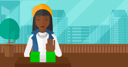 moving office: An african-american woman moving dollar bills away and refusing to take a bribe on the background of panoramic modern office with city view vector flat design illustration. Horizontal layout. Illustration