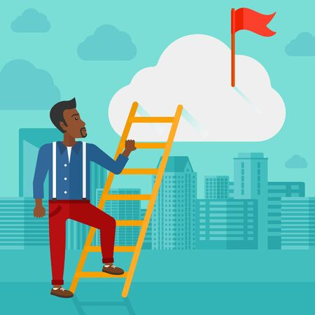 stair climber: An african-american man holding the ladder to get the red flag on the top of the cloud on the background of modern city vector flat design illustration. Square layout.