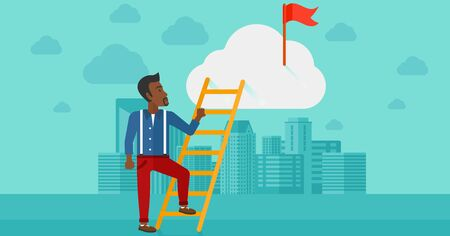 stair climber: An african-american man holding the ladder to get the red flag on the top of the cloud on the background of modern city vector flat design illustration. Horizontal layout.