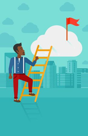 hold high: An african-american man holding the ladder to get the red flag on the top of the cloud on the background of modern city vector flat design illustration. Vertical layout.