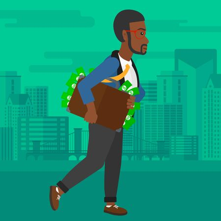 bribery: An african-american man walking with suitcase full of money on the background of modern city vector flat design illustration. Square layout. Illustration
