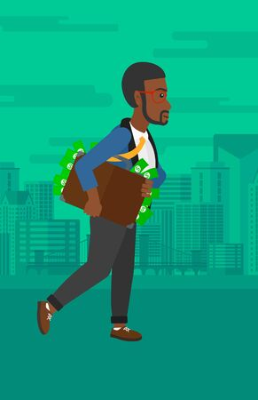 An african-american man walking with suitcase full of money on the background of modern city vector flat design illustration. Vertical layout. Illustration