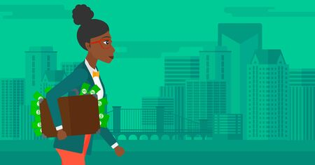 bribery: An african-american woman walking with suitcase full of money on the background of modern city vector flat design illustration. Horizontal layout.