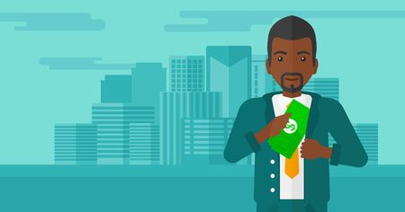 putting: An african-american man putting money in his pocket on the background of modern city vector flat design illustration. Horizontal layout. Illustration