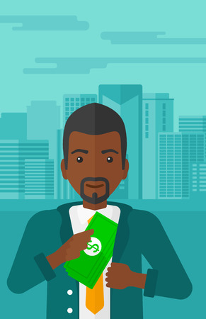 putting money in pocket: An african-american man putting money in his pocket on the background of modern city vector flat design illustration. Vertical layout.
