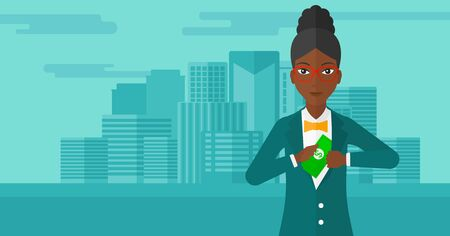 putting money in pocket: An african-american woman putting money in her pocket on the background of modern city vector flat design illustration. Horizontal layout. Illustration