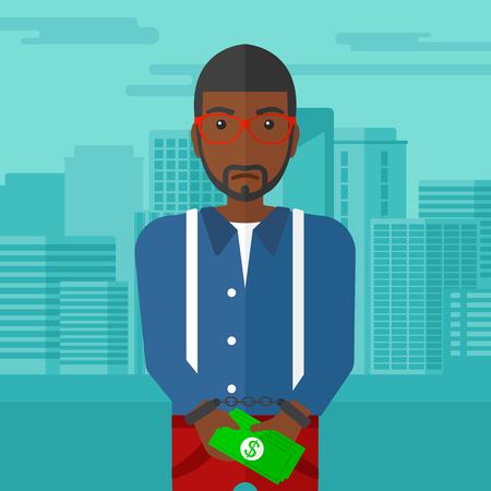 prisoner of the money: An african-american man in handcuffs with money in hands on the background of modern city vector flat design illustration. Square layout.