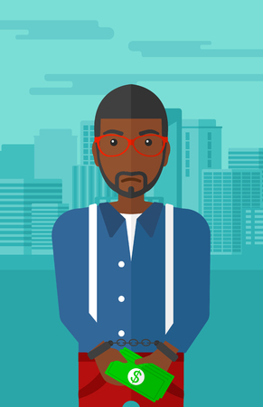 prisoner of the money: An african-american man in handcuffs with money in hands on the background of modern city vector flat design illustration. Vertical layout. Illustration