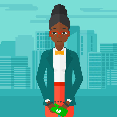 handcuffed: An african-american business woman in handcuffs with money in hands on the background of modern city vector flat design illustration. Square layout. Illustration