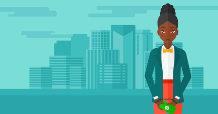 prisoner of the money: An african-american business woman in handcuffs with money in hands on the background of modern city vector flat design illustration. Horizontal layout.