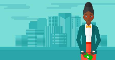 Ein African-American Business Frau in Handschellen mit Geld in den Händen auf dem Hintergrund der modernen Stadt Vektor flache Design-Illustration. Horizontal-Layout. Standard-Bild - 54345166