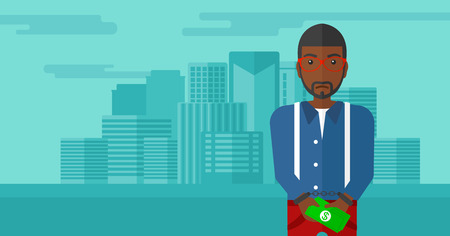 prisoner of the money: An african-american man in handcuffs with money in hands on the background of modern city vector flat design illustration. Horizontal layout.