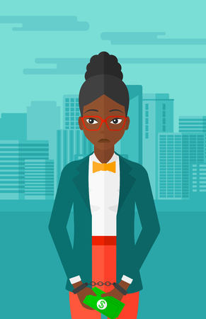 An african-american business woman in handcuffs with money in hands on the background of modern city vector flat design illustration. Vertical layout.