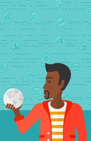 flat earth: An african-american man holding Earth planet in hand on a blue background with business icons vector flat design illustration. Vertical layout.