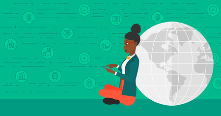 An african-american woman sitting near a globe model with a smartphone in hands on a green background with technology and business icons vector flat design illustration. Horizontal layout.