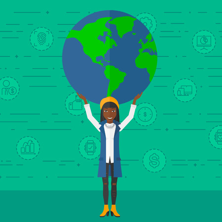 her: An african-american woman holding a big globe model in hands over her  head on a green background with technology and business icons vector flat design illustration. Square layout. Illustration