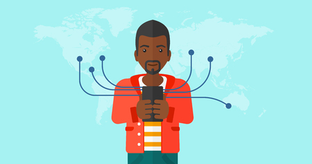 An african-american man holding smartphone connected with the whole world on a blue background vector flat design illustration. Horizontal layout.